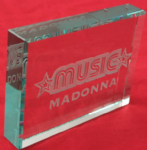 MUSIC ALBUM - ETCHED CRYSTAL PAPERWEIGHT